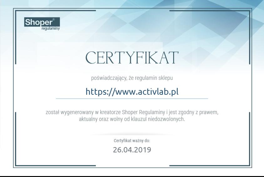 certyfikat regulamin sklepu